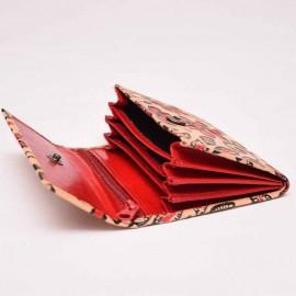 Porte monnaie ethnique Bundi fleur rouge