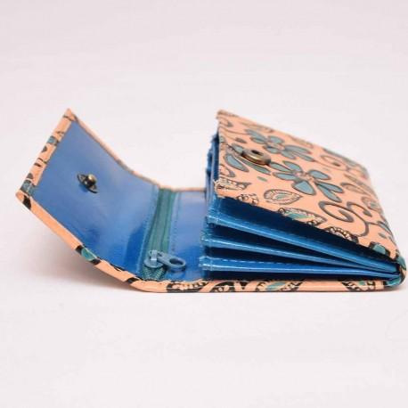 Porte monnaie ethnique Bundi fleur bleu