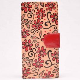 Porte-chéquier Macha fleur rouge