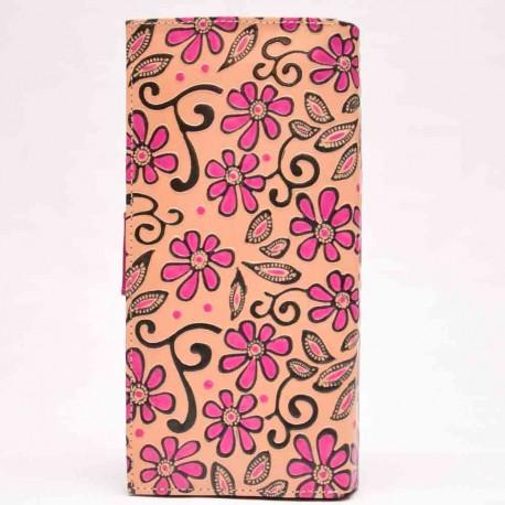 Porte-chéquier Macha fleur rose