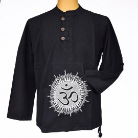 Chemise indienne Om coton noire