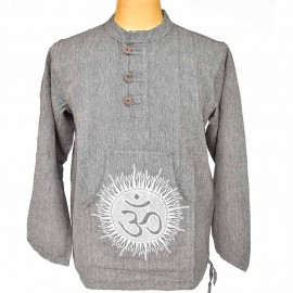 Chemise ethnique Om coton grise
