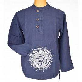 Chemise népal Om coton bleue