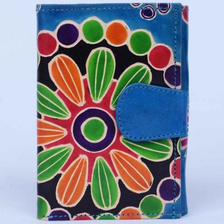 Portefeuille Macha fleurs bleu