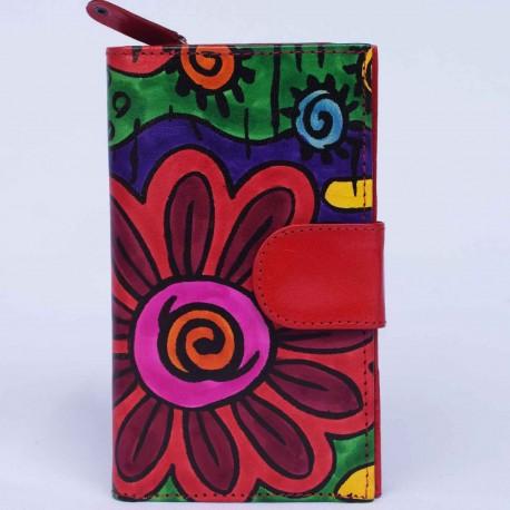 Portefeuille Macha rouge fleurs 2