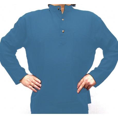Chemise coton bleu unie