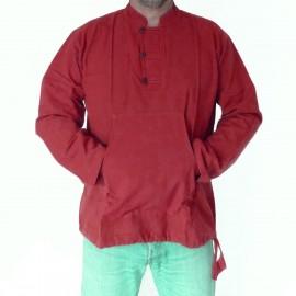 Chemise ethnique Makalu coton rouge