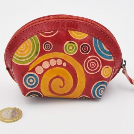Porte monnaie Macha asia rouge spirales