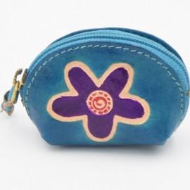 Porte monnaie Macha Art fleur bleu2
