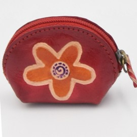 Porte monnaie Macha Art rose fleur orange