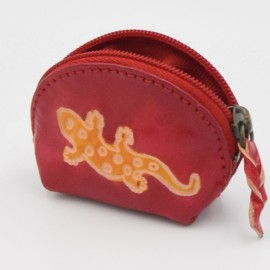 Porte monnaie Macha Art fushia gecko orange