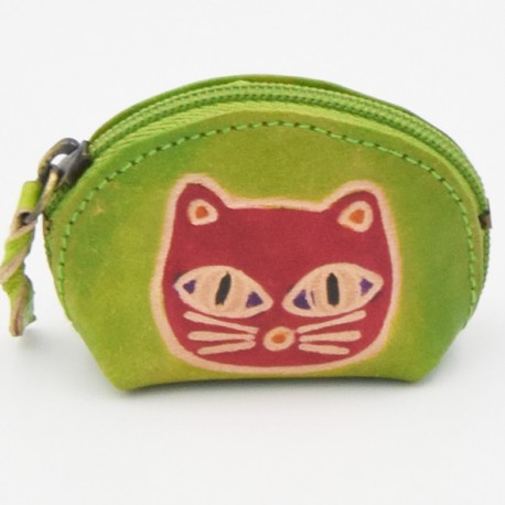 Porte monnaie Macha Art vert chat rose