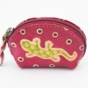 Porte monnaie Macha Art rose gecko vert
