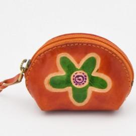 Porte monnaie Macha Art rose fleur verte