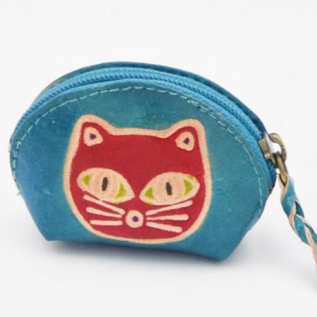 Porte monnaie Macha Art bleu chat fushia