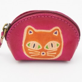 Porte monnaie Macha Art fushia chat orange
