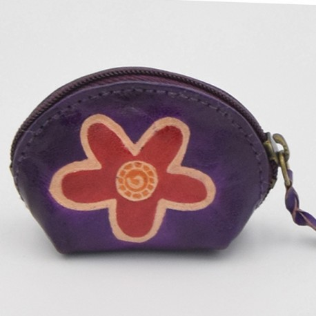Porte monnaie Macha Art violet fleur orange