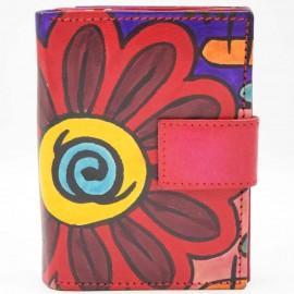 Portefeuille Macha fleurs rouges