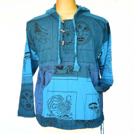 Chemise bleue imprimée capuche