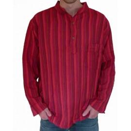 Chemise ethnique coton rouge