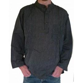 Chemise coton rayée noire