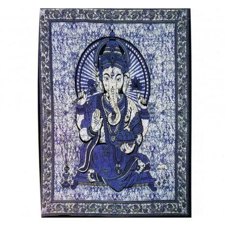 Tenture ethnique Ganesha3 bleu