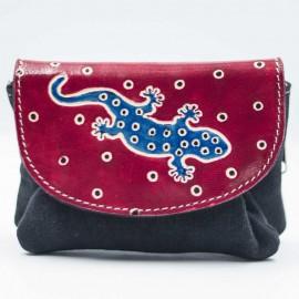 Porte monnaie ethnique Zappa noir rouge gecko