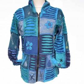 Gilet Ethnique Garyan bleu doublé polaire bleu