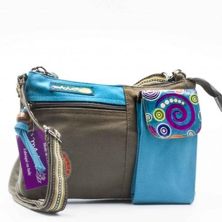 Sac Macha Kanpur gris et turquoise XL