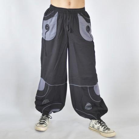 Pantalon ethnique Cosmic noir et gris