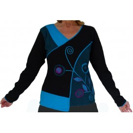 T-shirt ethnique Suzi bleu